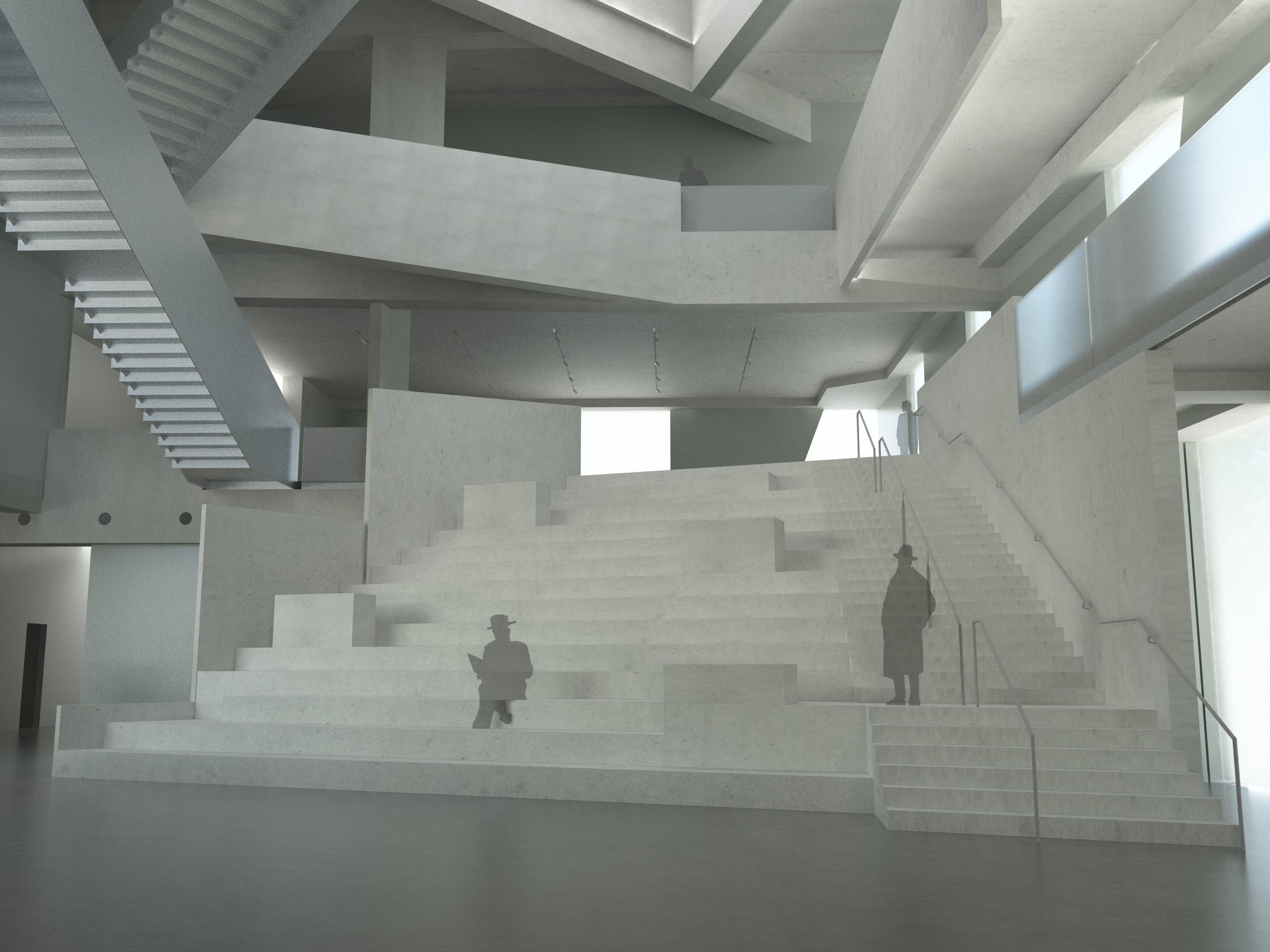 Rendering of the central staircase of the Glassell School of Art. Courtesy of Steven Holl Architects