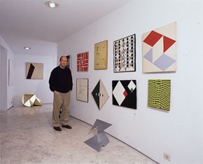 Adolpho Leirner at home with Brazilian collection