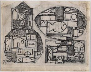 Untitled (Two Structures) by Julio Alpuy,  graphite and ink on paper, 1949
