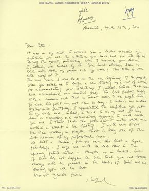 Archives Moneo letter to Marzio, with short caption