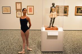 Ballet Academy blog - dancer with 14 year old dancer sculpture