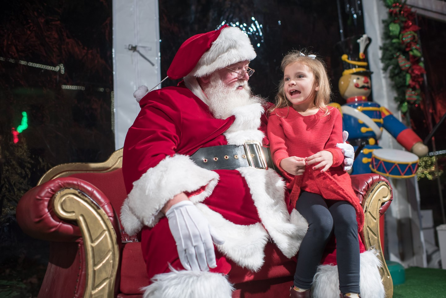 Santa Claus at Christmas Village at Bayou Bend
