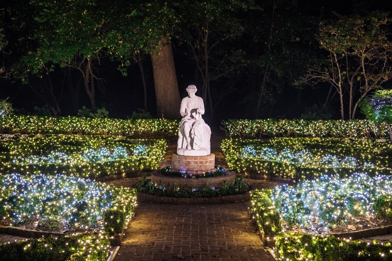 Bayou Bend Christmas Village - lights in Clio garden