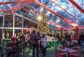 Bayou Bend Christmas Village - tent with tree