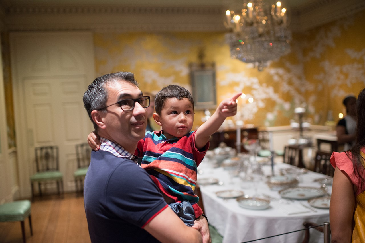 Bayou Bend dining room: father/dad + son