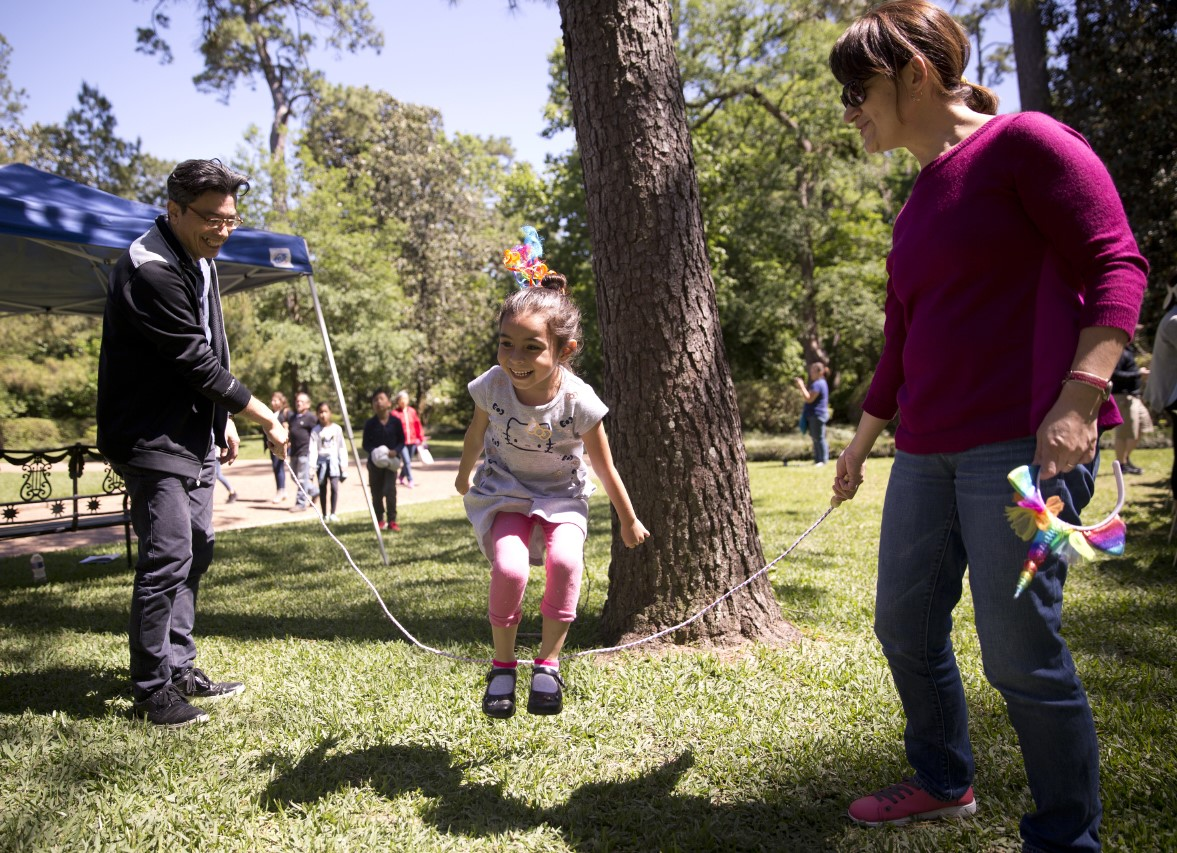 Bayou Bend Family Day - child playing jump rope