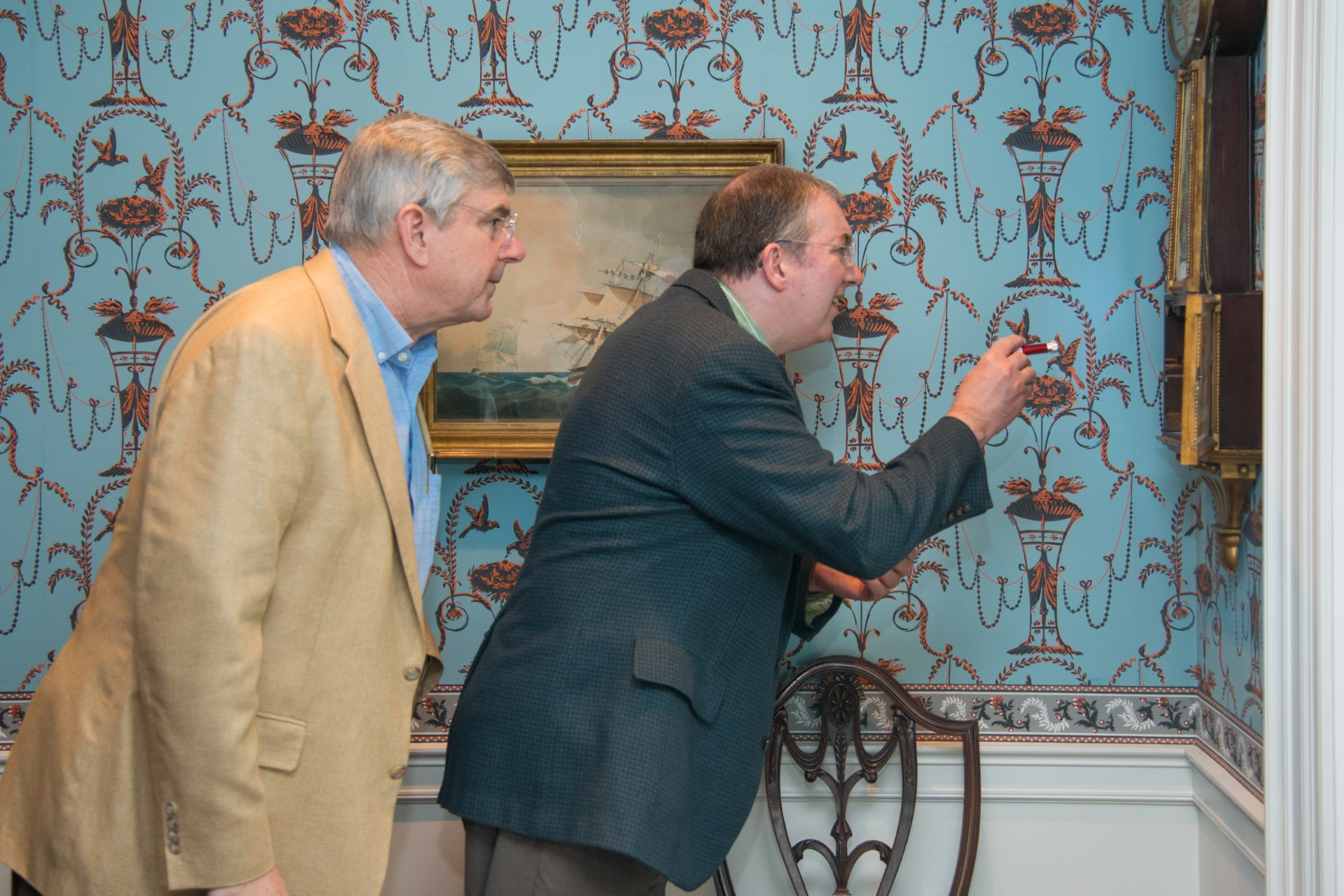 Bayou Bend Object Detectives - Men in Federal Parlor with Flashlight