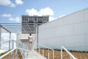 BBVA Compass Roof Garden - skylight with visitor on stairs
