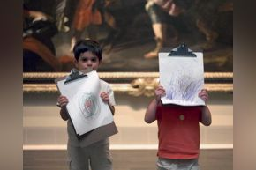 boys with drawings