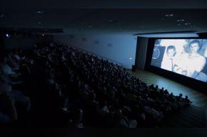 Brown Auditorium theater during a film