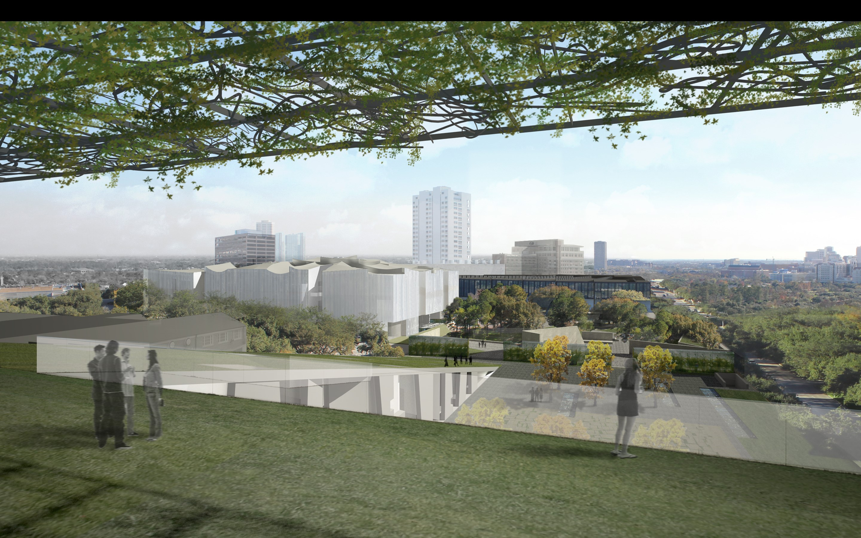 Campus plans - kinder gallery building from glassell roof