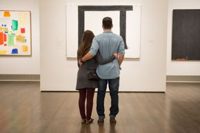 couple in beck american art galleries with kline / valentine's day
