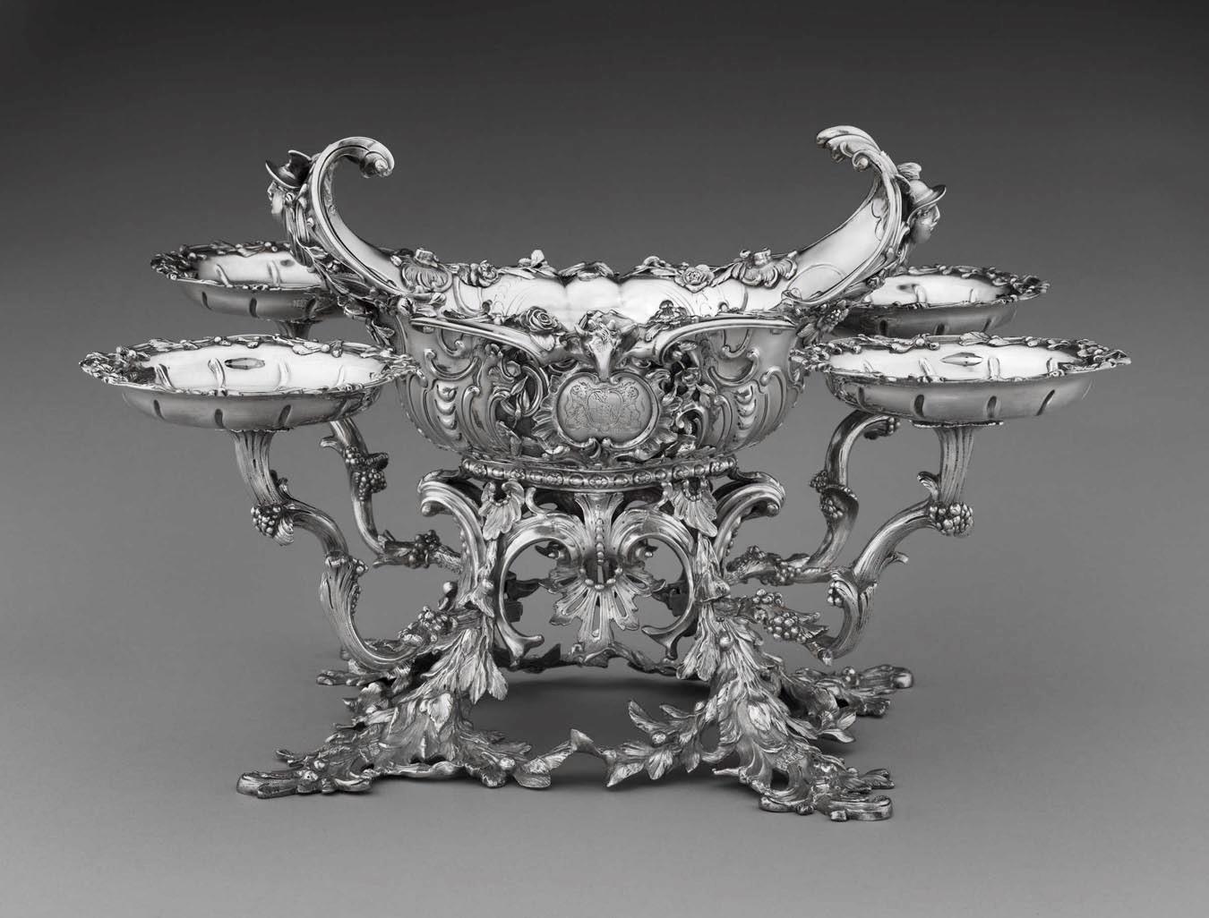 William Cripps, Epergne, 1754, silver, the Rienzi Collection