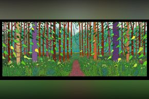 David Hockney, Arrival of Spring in Woldgate, East Yorkshire in 2011, oil on 32 canvases