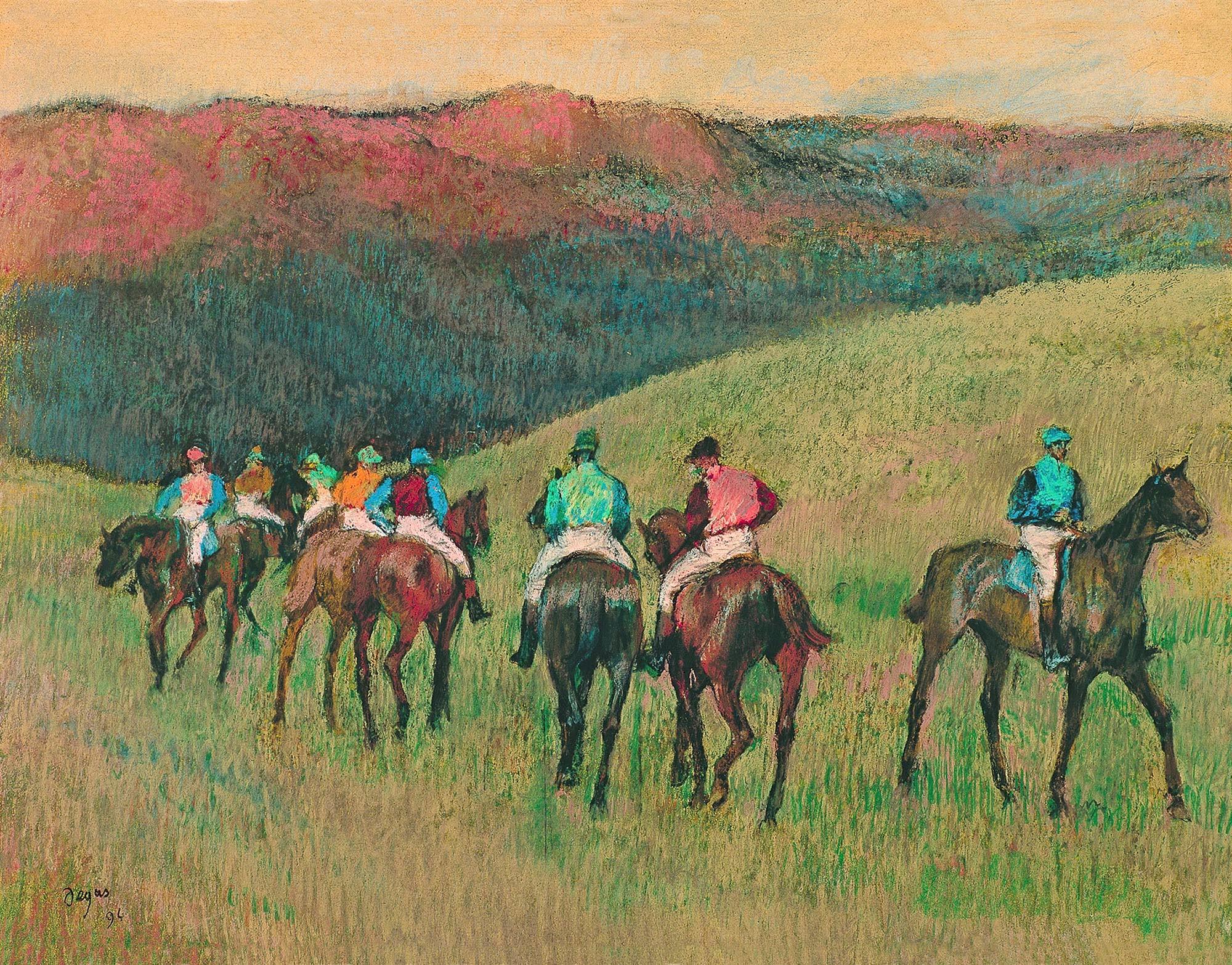 Degas - Racehorses in a landscape
