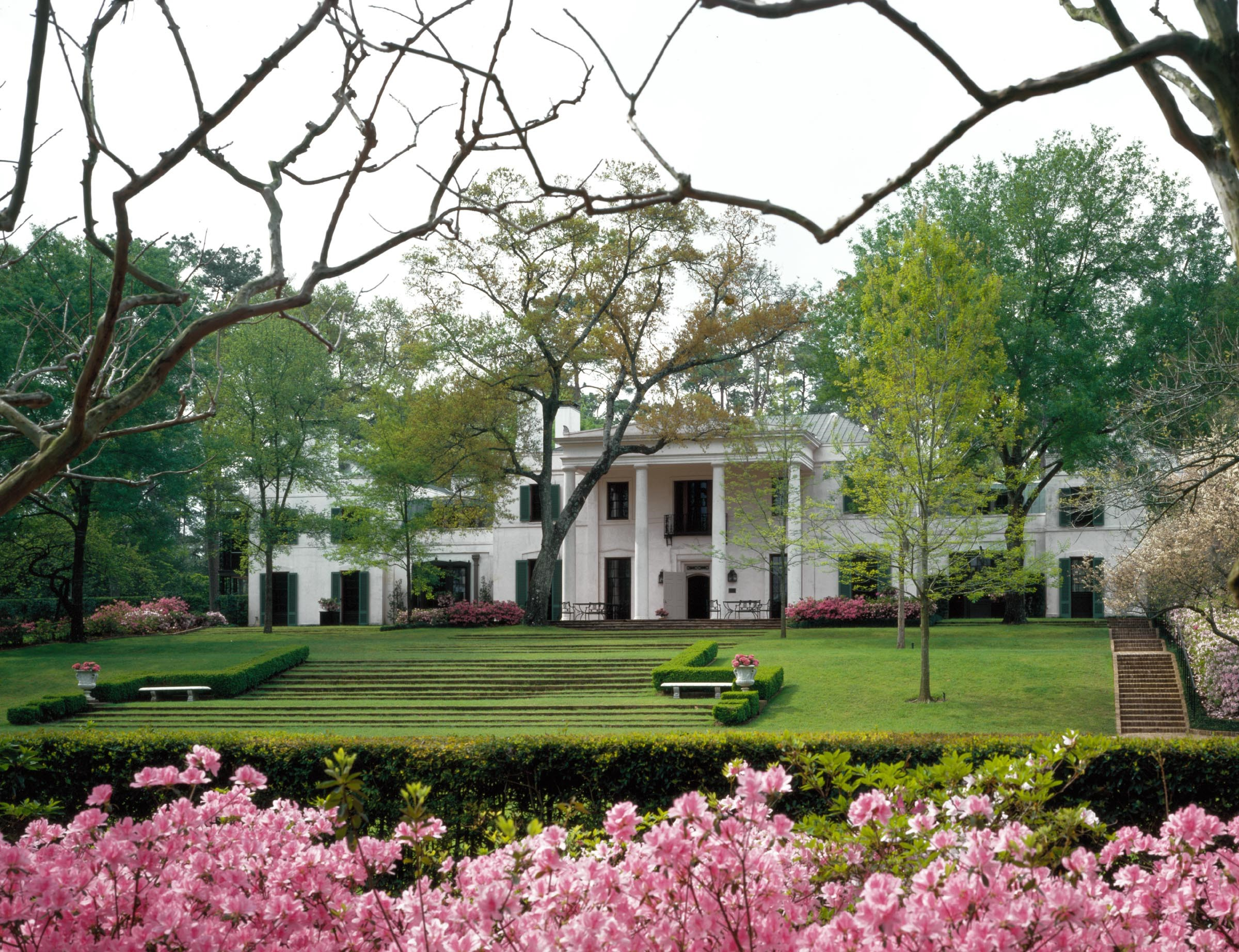 entertaining - bayou bend - facade / exterior with azaleas