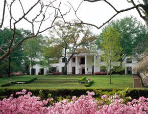 entertaining - bayou bend - facade / exterior with azaleas