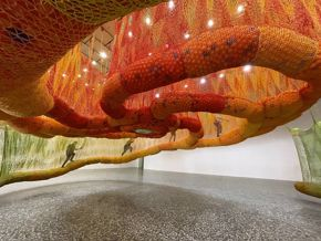Ernesto Neto, SunForceOceanLife (installation view), 2020, crocheted textile and plastic balls