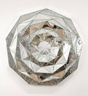 Monir Farmanfarmaian, Nonagon, 2011, mirror and reverse glass painting on plaster and wood