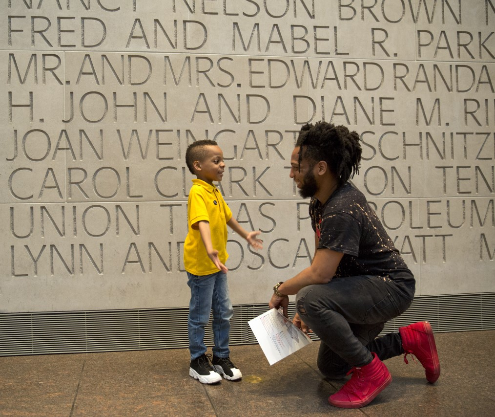 father's day / dad and son / visitors in beck building lobby