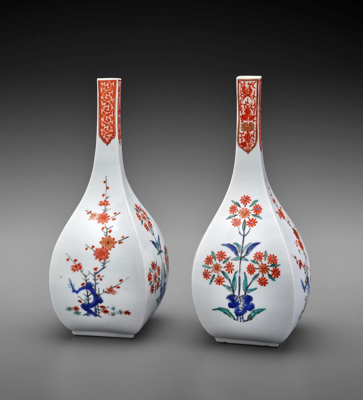 Japanese, Squared Wine Bottles with Design of Prunus and Flowering Plants, 1670–90