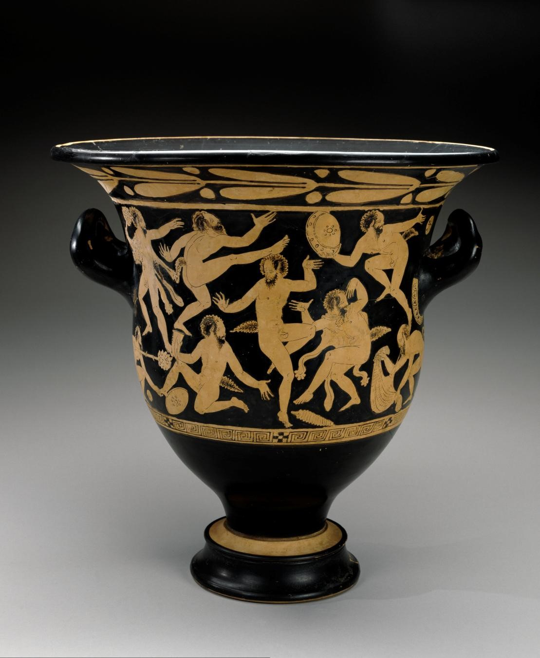 Faliscan, White-figure Bell Krater with Dancing Satyrs, 400–351 BC