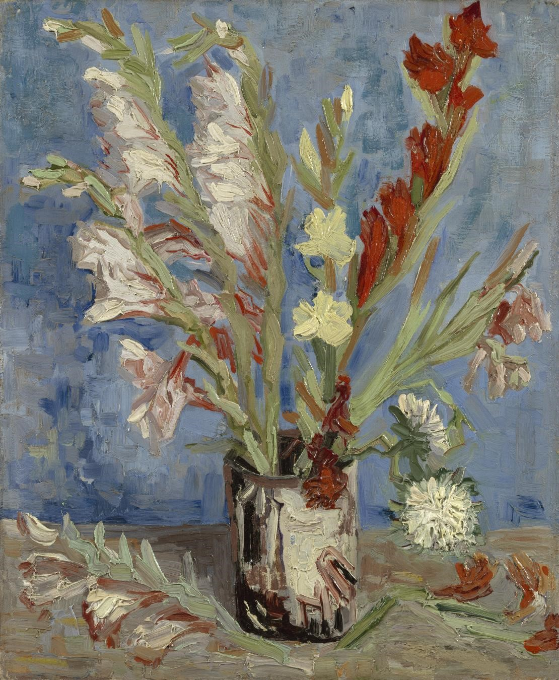 Vincent van Gogh, Vase with Gladioli and Chinese Asters, August–September 1886, oil on canvas, Van Gogh Museum, Amsterdam (Vincent van Gogh Foundation).