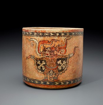 Maya, Vessel with Bat Deity