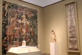 FOR MEDIEVAL GALLERY BLOG POST ONLY - Beck gallery with cross, tapestry, Rouen drawing
