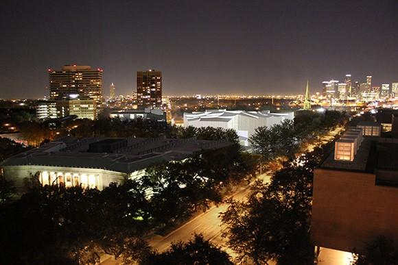 General campus plans at night