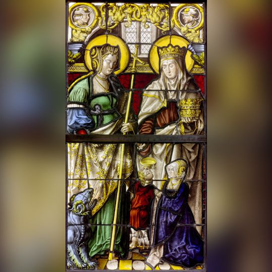 German, Saints Margaret and Elizabeth Presenting a Female Donor, c. 1525–30, glass, vitreous paint, and silver stain