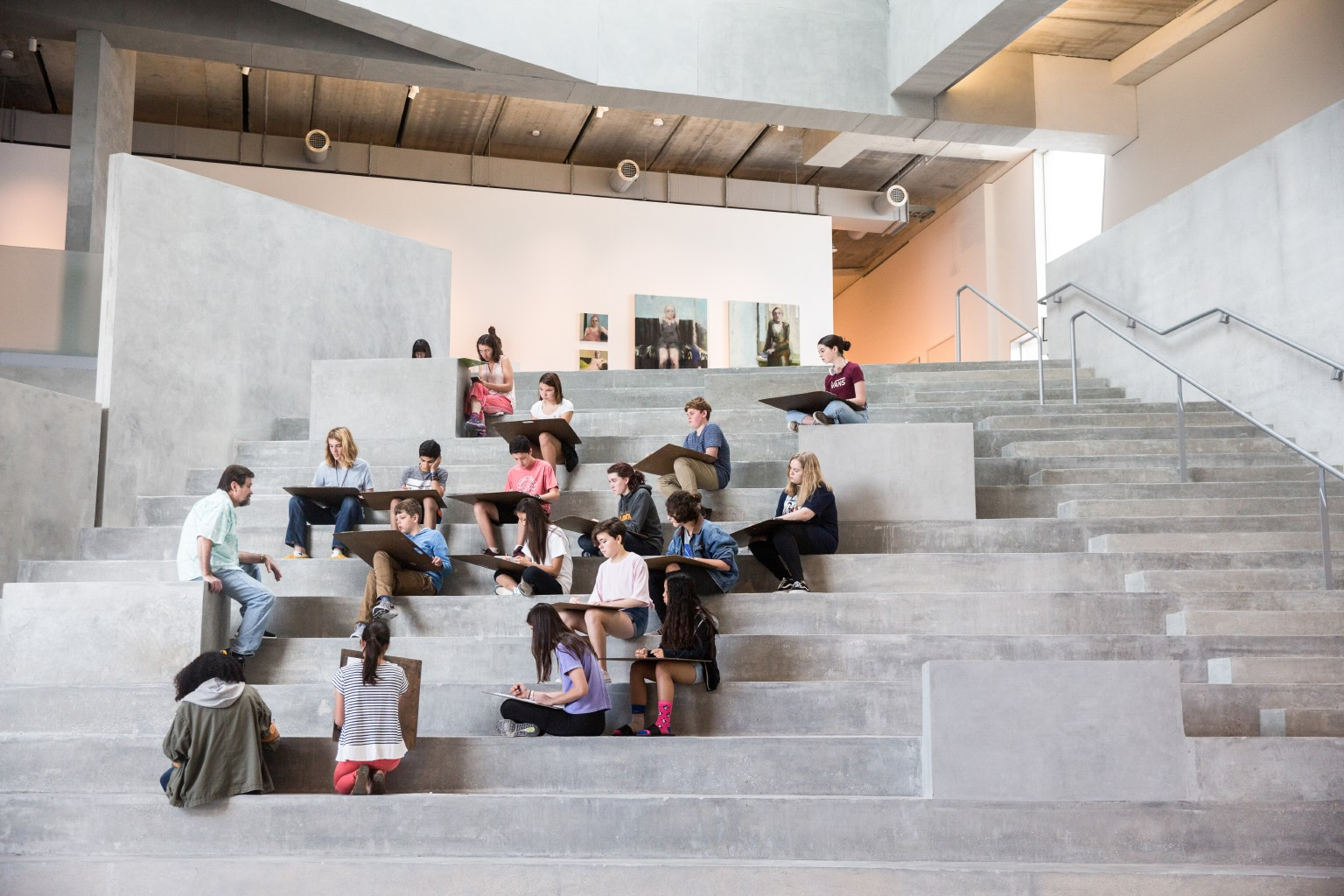 Glassell Junior School drawing class - central stair