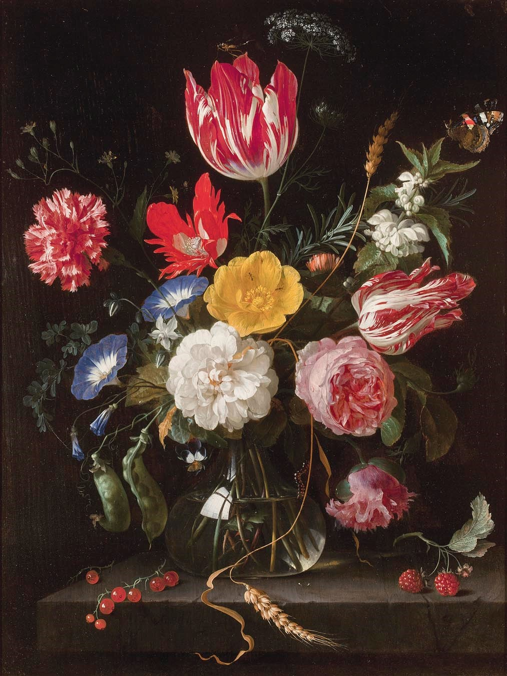 Heem- Still Life with Flowers on a Stone Ledge