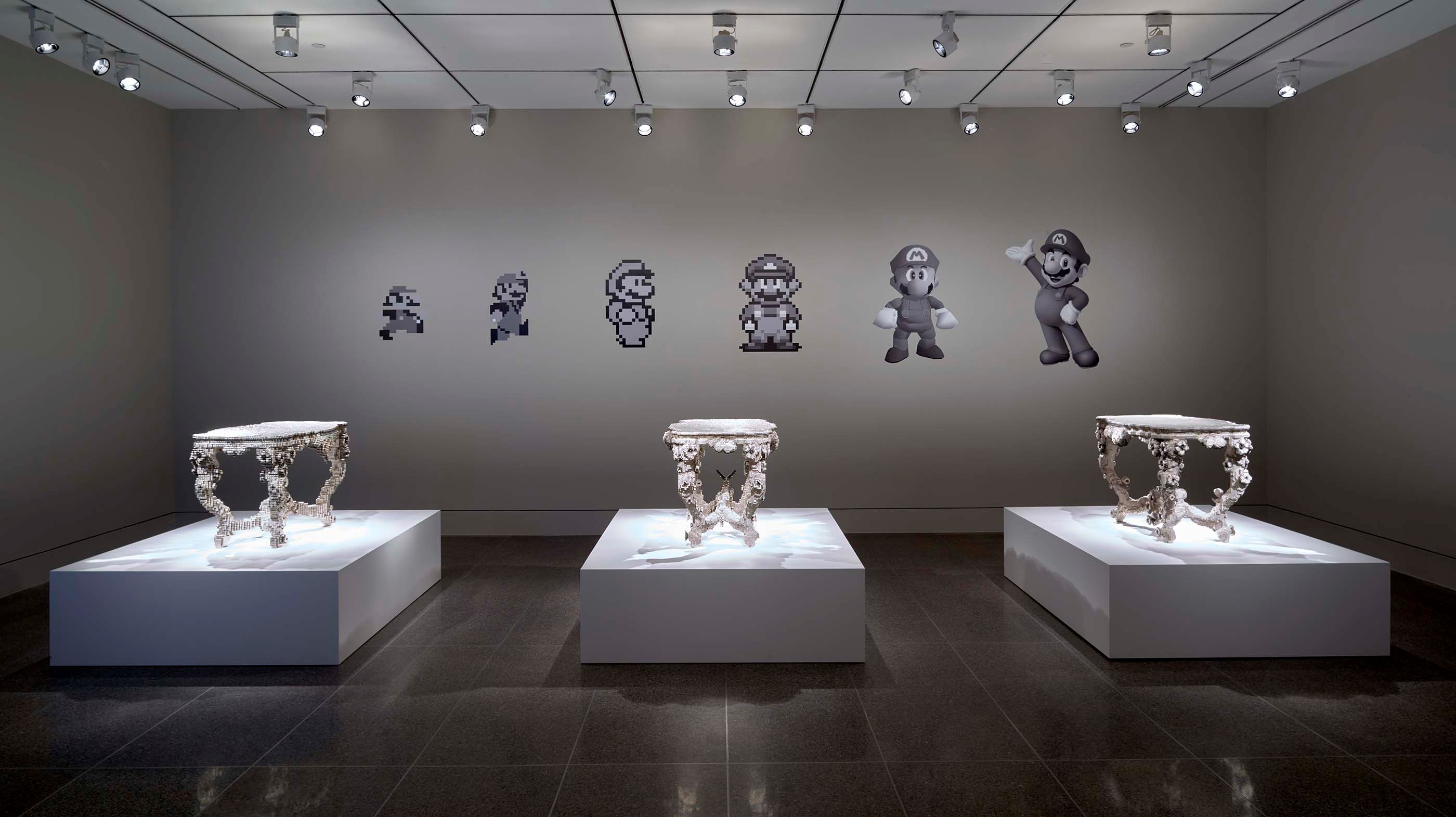 Installation view of Joris Laarman Lab: Design in the Digital Age - Voxel tables / Nintendo room