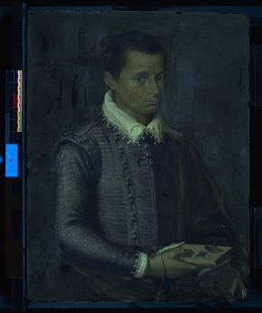 Italian, Portrait of a Boy Holding a Book (recto, longwave ultraviolet fluorescence), 1560s, oil on wood