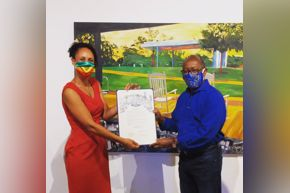 "Melissa Aytenfisu and Mayor Sylvester Turner at her ""Metamorphosis"" exhibition."