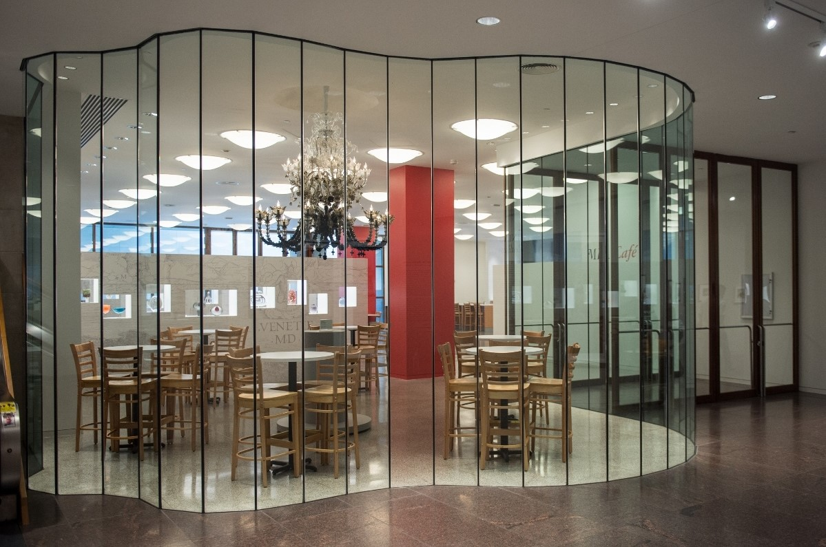 MFA Cafe (chandelier looking in)