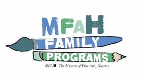 Blue and Green text making up the word MFAH. A blue paintbrush with white lettering spelling out Family. A green pencil with white lettering spelling out Programs. At the bottom of the image in black lettering is MFAH The Museum of Fine Arts, Houston. Entire image has a white background.