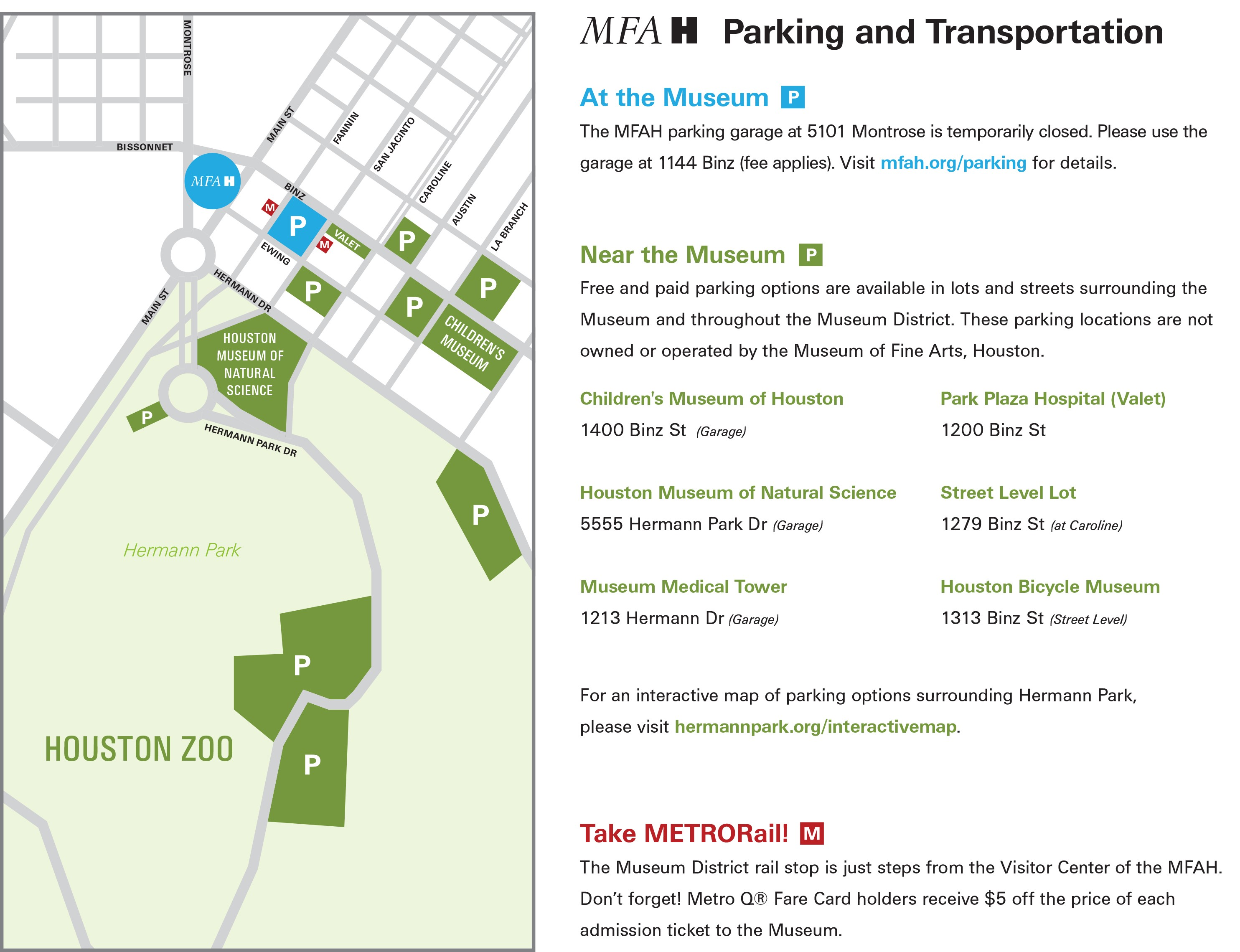 MFAH parking map - updated 9.7.17