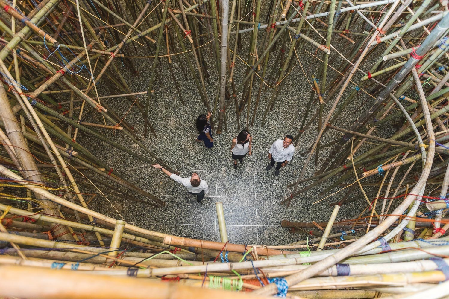 Mike + Doug Starn: Big Bambú - adults at ground level, view from above