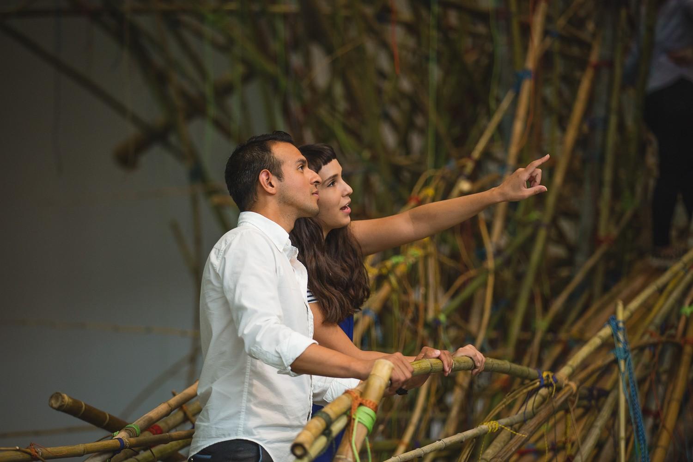Mike + Doug Starn: Big Bambú - adults/visitors, pointing