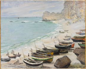 Claude Monet, Boats on the Beach at Etretat, 1883 oil on canvas