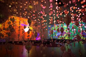 Pipilotti Rist, Storyhive photo / Pixel Forest, empty, orange and green