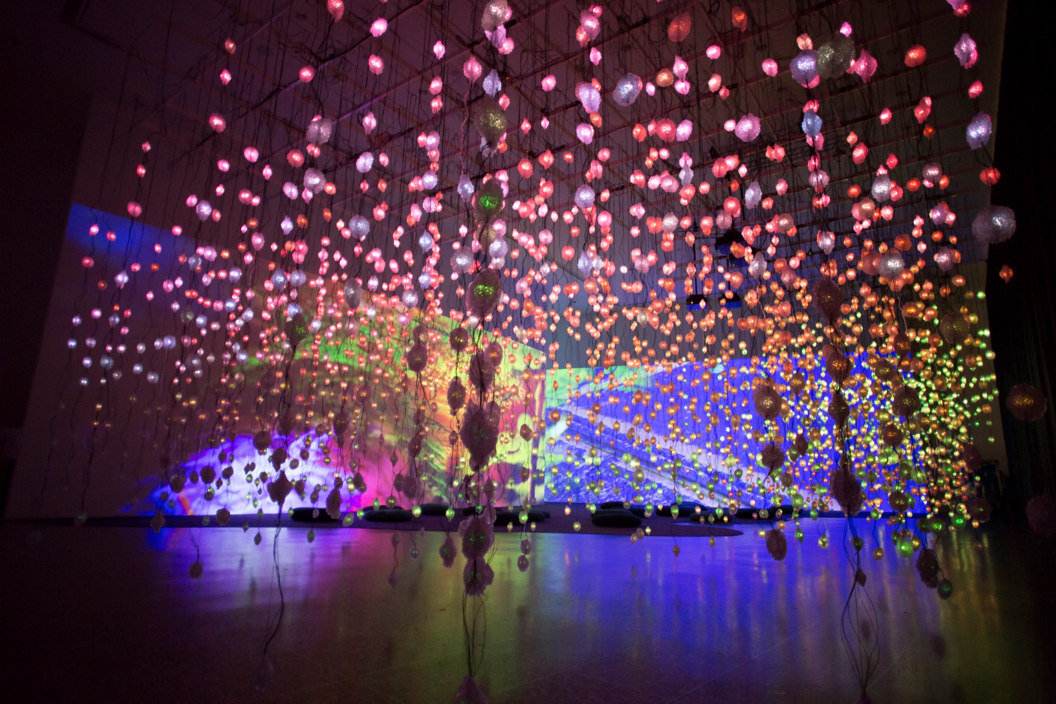 Pipilotti Rist, Storyhive photo / Pixel Forest, empty, pink, tighter crop to screen