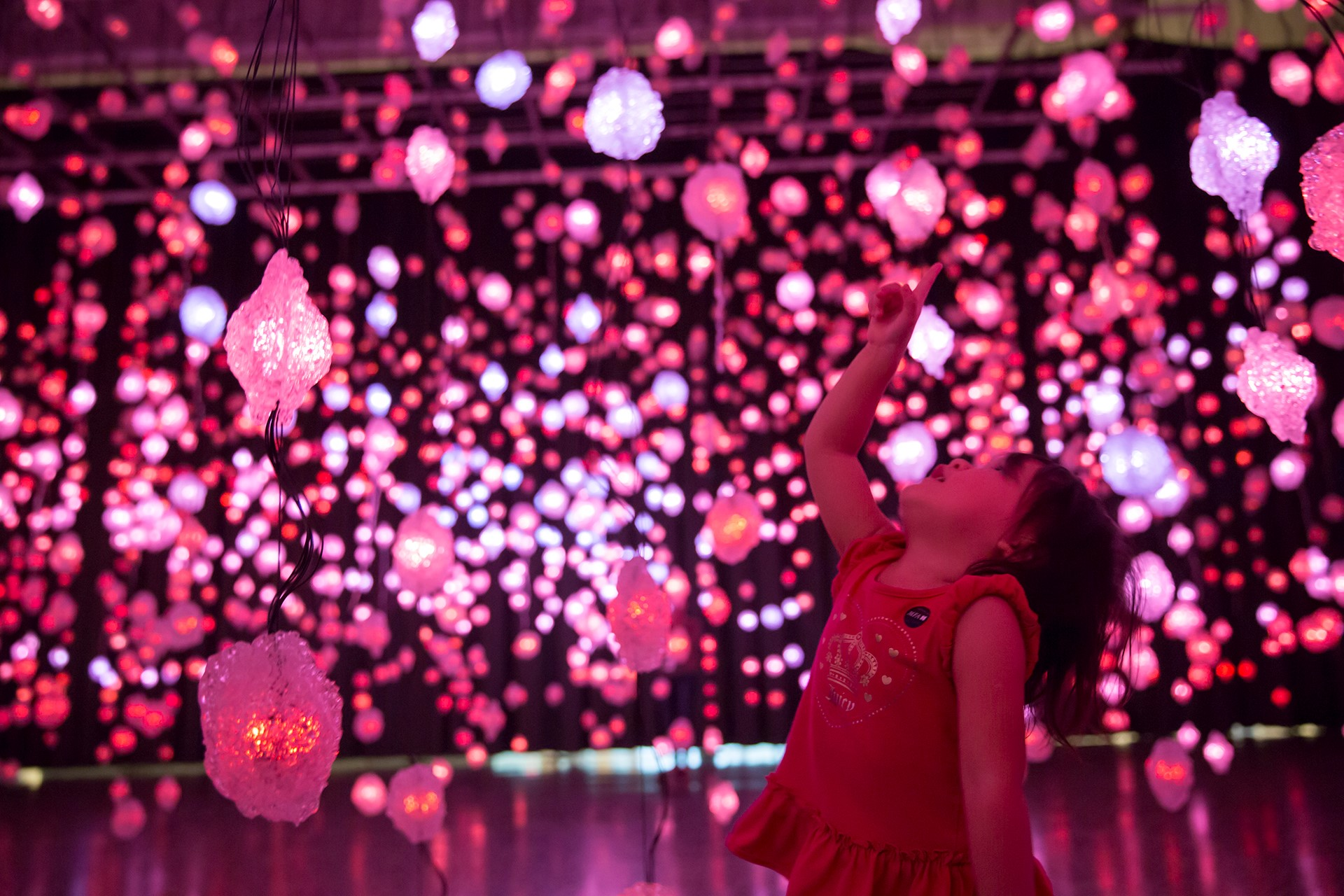 Pipilotti Rist, Storyhive photo / Pixel Forest, little girl with pink lights