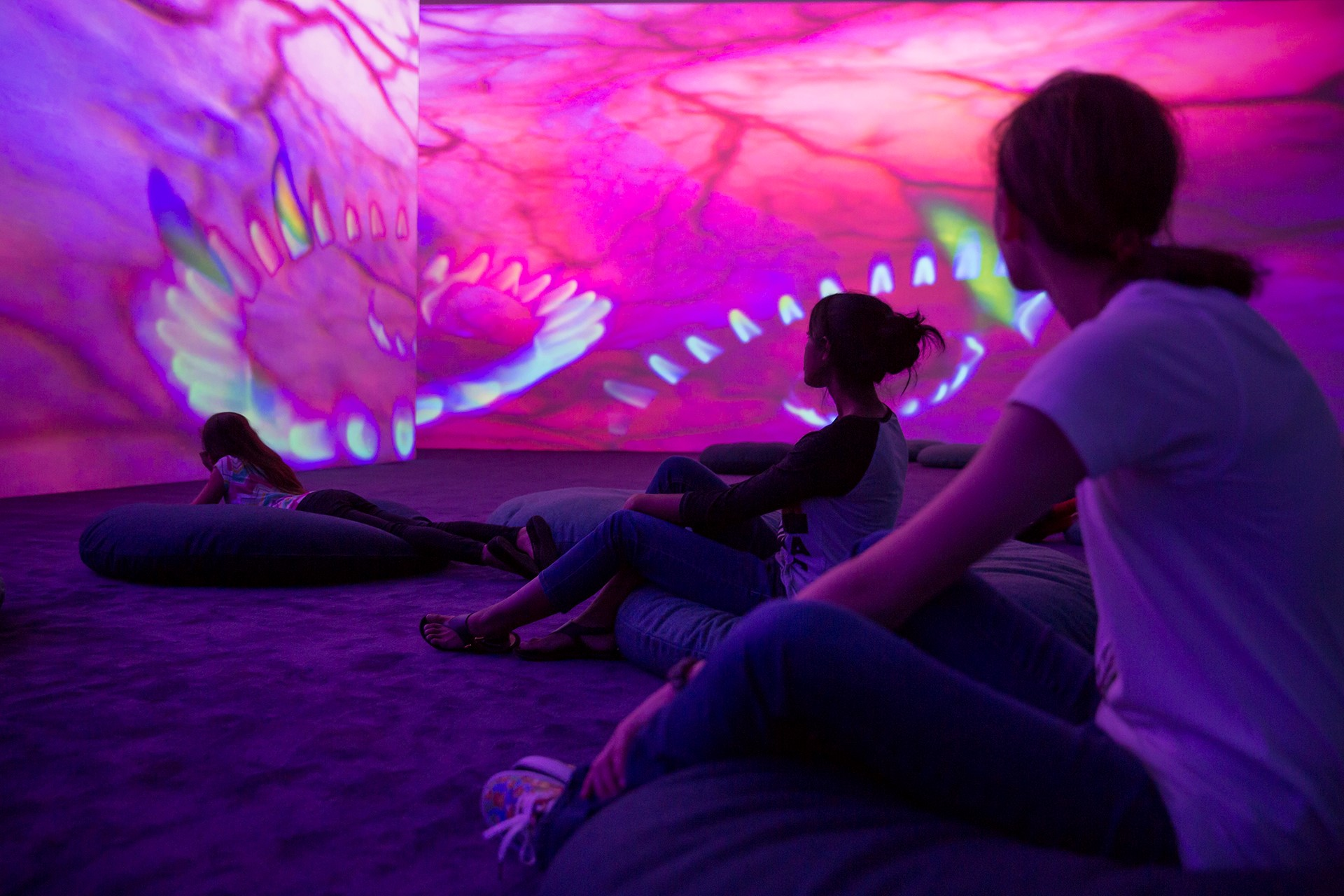 Pipilotti Rist, Storyhive photo / Worry Will Vanish Dissolution, kids on floor with video