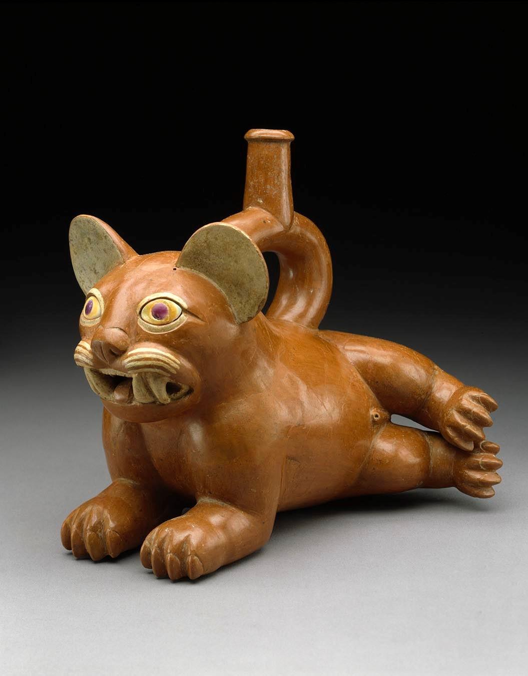 Reclining Feline Vessel