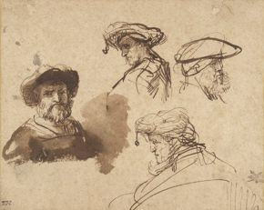 Rembrandt- Four Studies of Male Head