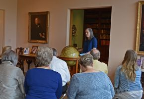 Rienzi gallery talk in library/living room - Christine Gervais with Cary brothers globe