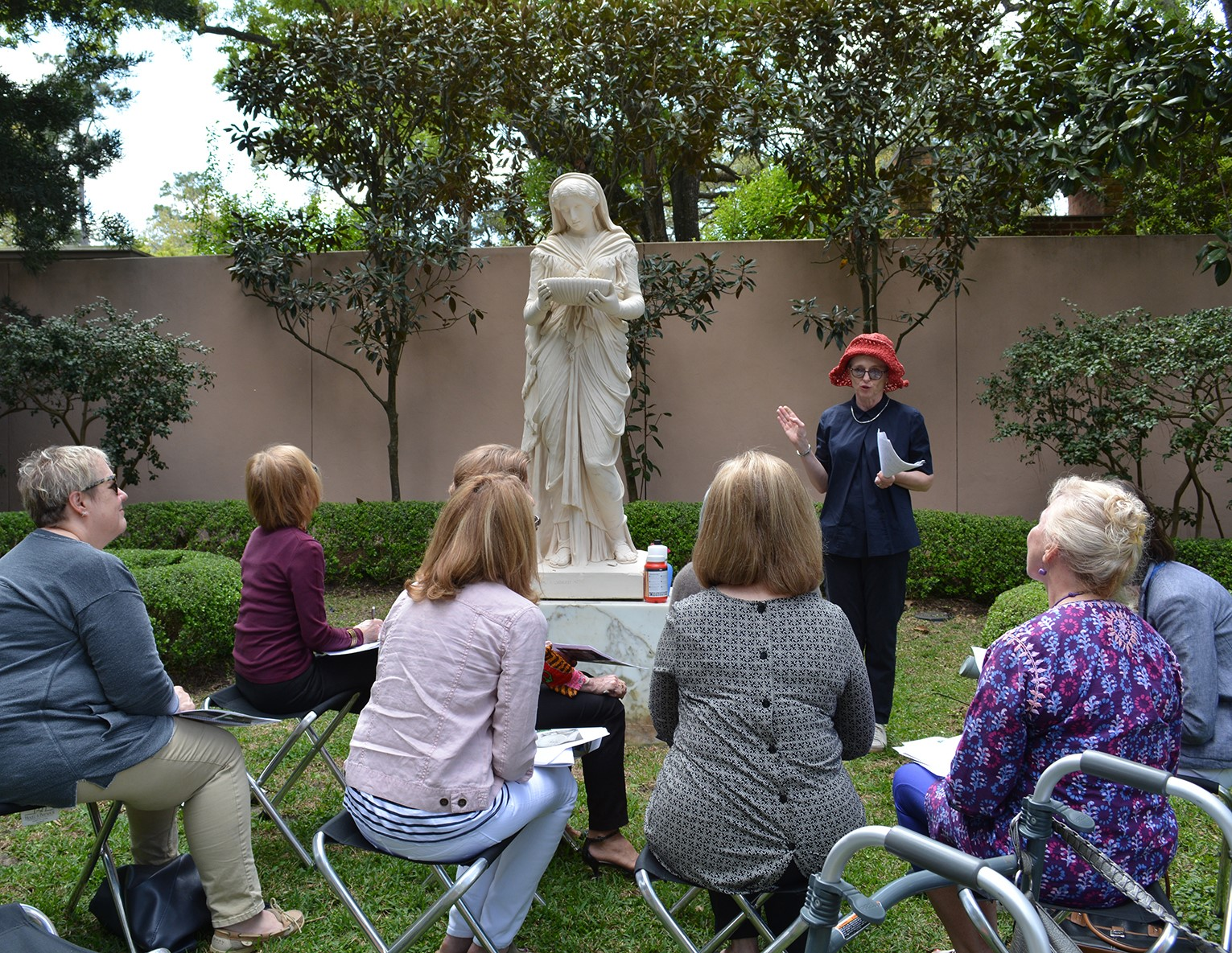 Rienzi gallery talk in the gardens - Jane Gillies with Lady Gandes sculpture